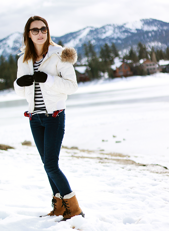 Plaid and Stripes Snow Day Outfit