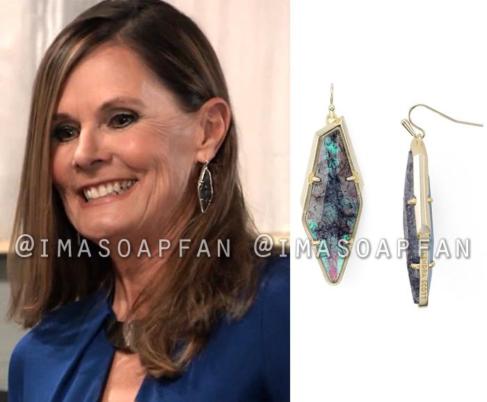 Lucy Coe, Lynn Herring, Blue-Green Stone Drop Earrings, General Hospital, GH