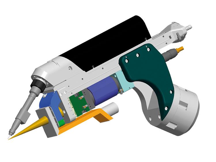 Конструкция сварочной головки с фокусным расстоянием 300 мм и 10 кВт мощностью лазера