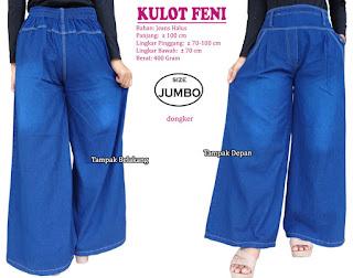 Celana kulot jeans jumbo keren model terbaru - feni