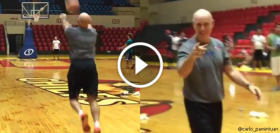 Gilas coach Tab Baldwin Hits An AMAZING Shot From 3/4 Court (VIDEO)
