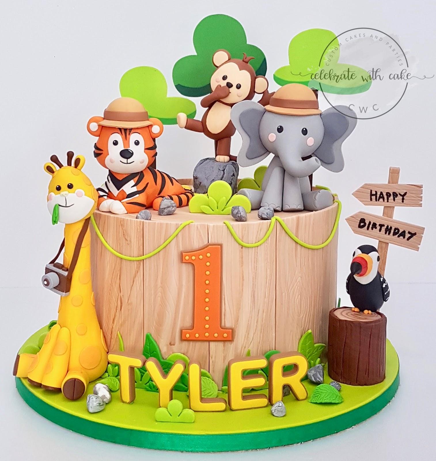 Cool Celebrate With Cake Animals On Safari 1St Birthday Cake Personalised Birthday Cards Vishlily Jamesorg