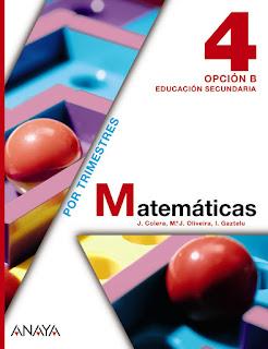 Libro Matemáticas 4º ESO Opción B Anaya
