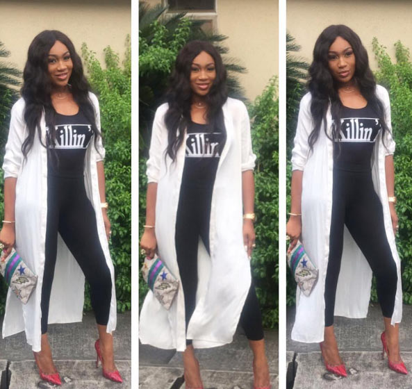 Ebube Nwagbo is killin' it with her doctor-styled lab coat jacket