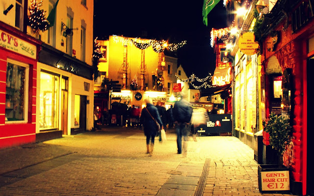 Christmas decorations in Galway city, abstract image