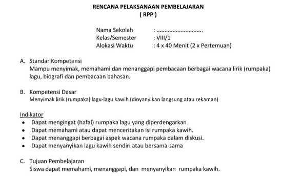Bahasa Sunda SMP MTs Kelas 8 Prota Promes Silabus RPP KKM Semester 1 dan 2 KTSP