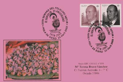 Tarjeta del matasellos del 25 aniversario del Grupo Filatélico de El Ventolín. Pola de Siero