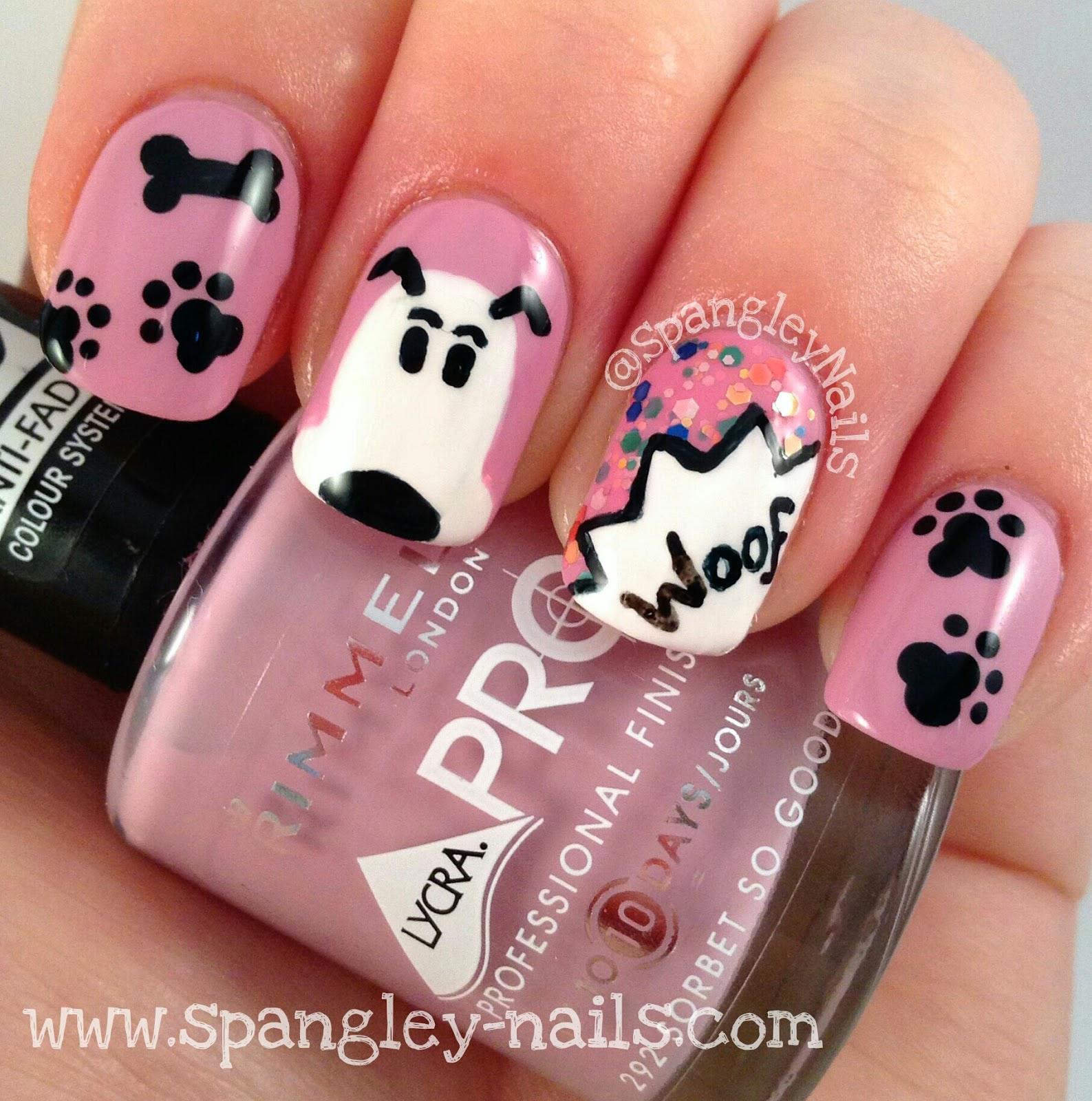 Spangley Nails | UK Nail Art Blog: Cartoon Dog Themed Nail Art