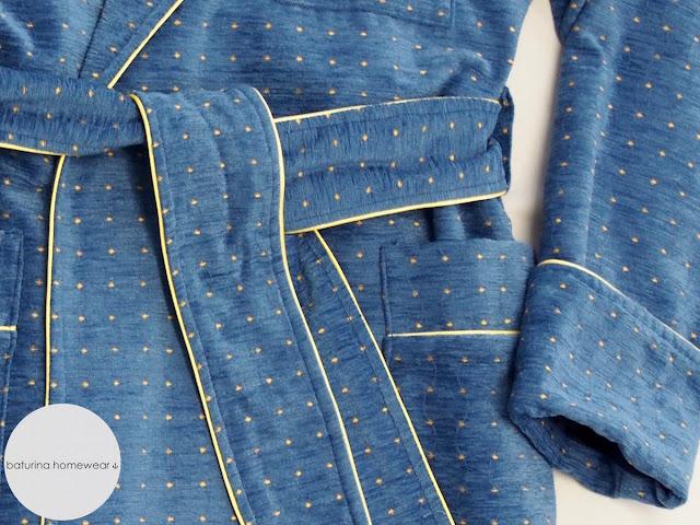 velvet cotton dressing gown long blue warm lined classic mens