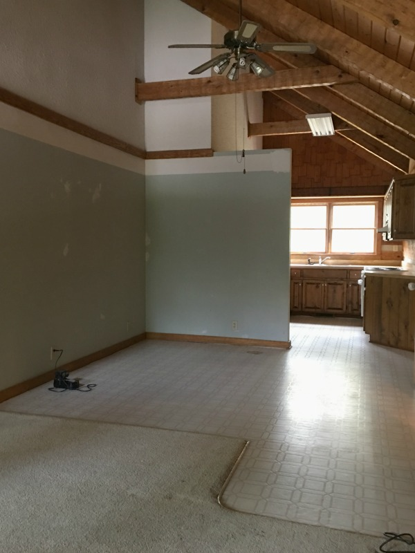 DIY Wide Plank Pine Floors | Before | Hood Creek Log Cabin