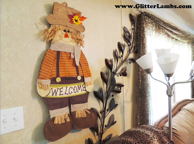 Fall Scarecrow Decoration on my wall. I got this at Hobby Lobby.