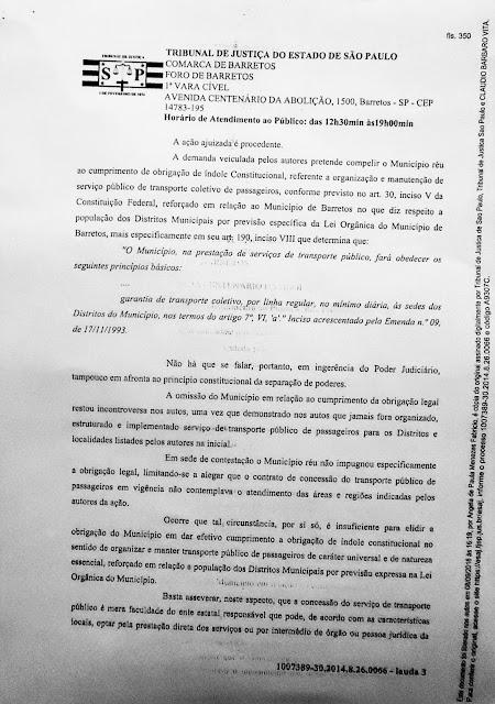 1007389-30.2014.8.26.0066 - Lauda 3 - Sentença Transportes Terrestres Zona Rural Barretos - Pag. 350