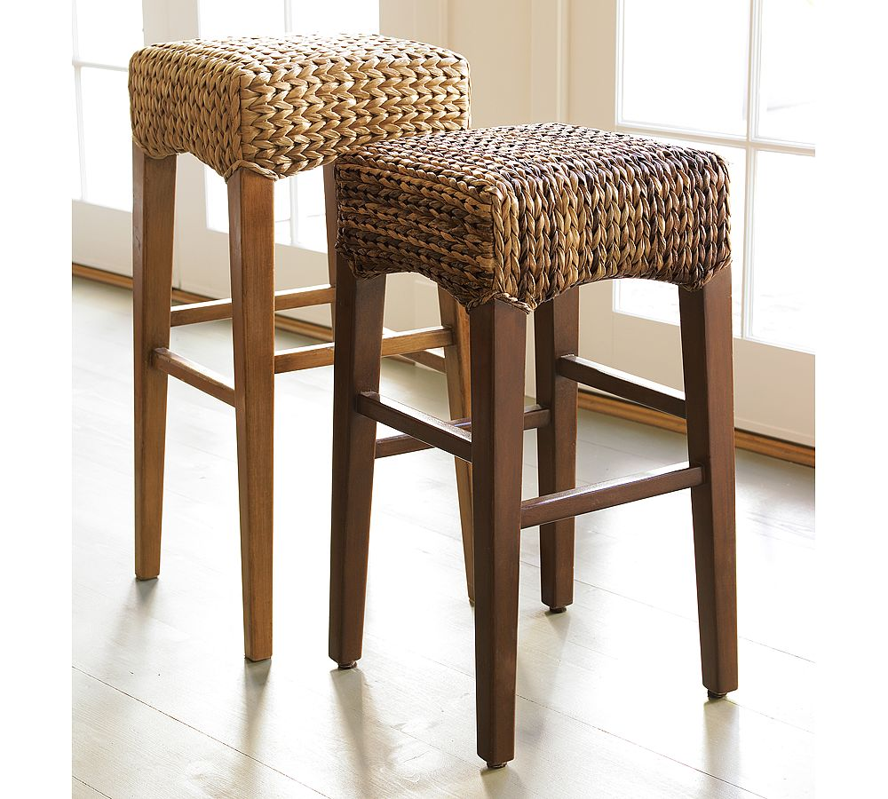 pottery barn seagrass chair baby room backless barstool - copycatchic