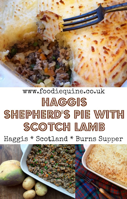 www.foodiequine.co.uk The ideal comfort food for Autum/Winter. A real taste of Còsagach. Topped with 'tartan' mash this Scotch Lamb & Haggis Shepherd's Pie is perfect for St Andrew's Day, Burns Night or Hogmanay.