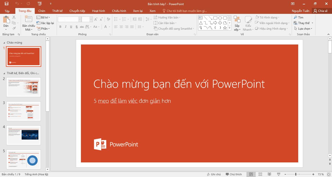 Danh sách phím tắt cho PowerPoint 2016