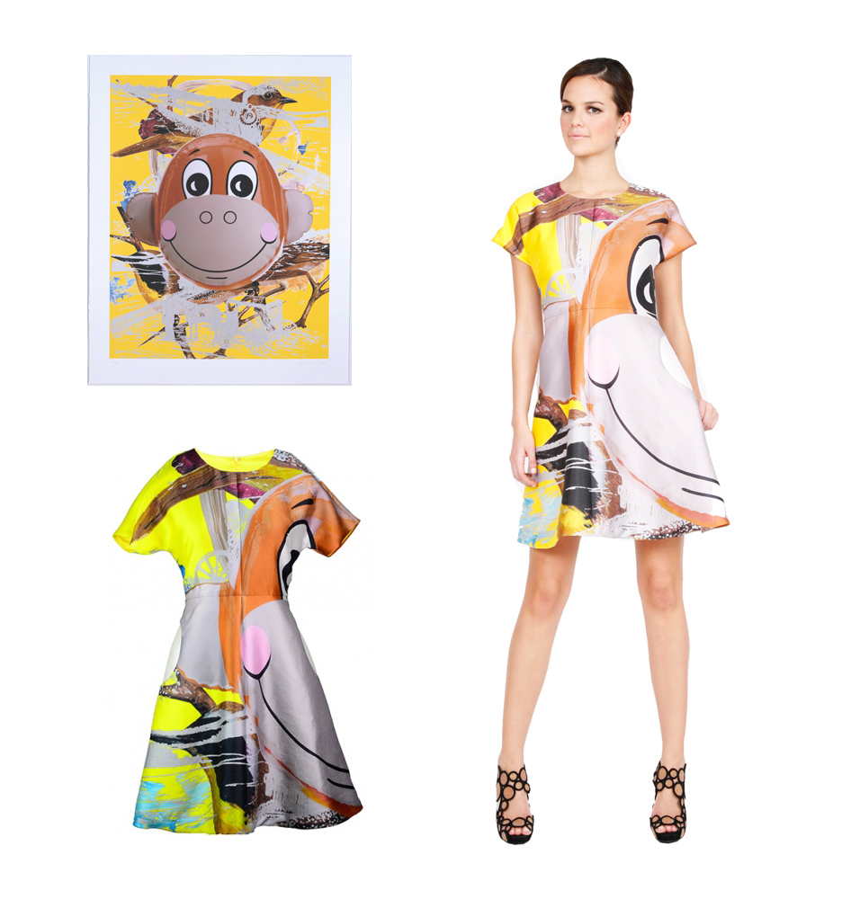 Monkey Train by Jeff koons and Yellow and Monkey Train Dress by Lisa Perry
