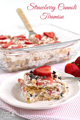 Strawberry Cannoli Tiramisu, shared by The Frugal Foodie Mama at The Chicken Chick's Clever Chicks Blog Hop