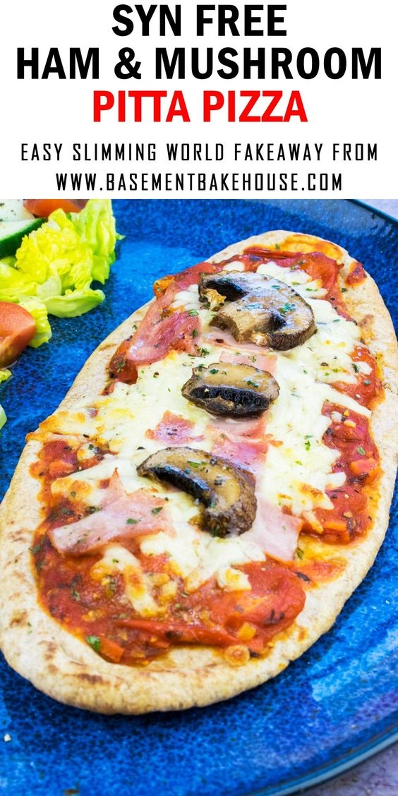 Syn Free Ham & Mushroom Pitta Pizza