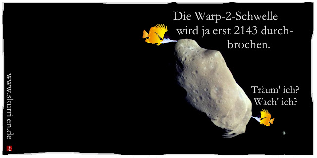 All Weltraum Fische Asteroid Ida Mond Dactyl Fantasy Science-Fiction Star Trek surreal Collage Comic
