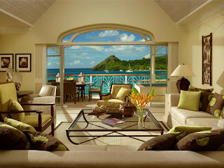 Living Room of Beachfront Suite, Landings Resort, St Lucia