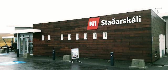 Bus stop N1 Stadarskali Iceland