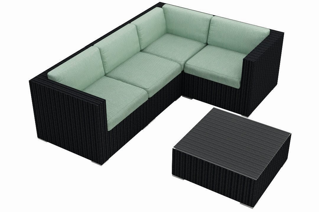 Harmonia Living Urbana 5 Piece Modern Patio Sofa Sectional Set with Turquoise Sunbrella Cushions (SKU HL-URBN-5SECT-SP)