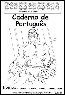 Capa para caderno português Hulk