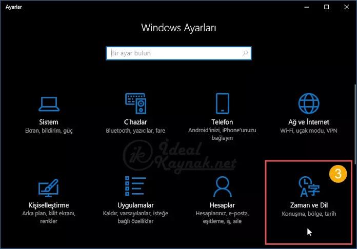 Windows 10'da Varsayılan Dili Değiştirme