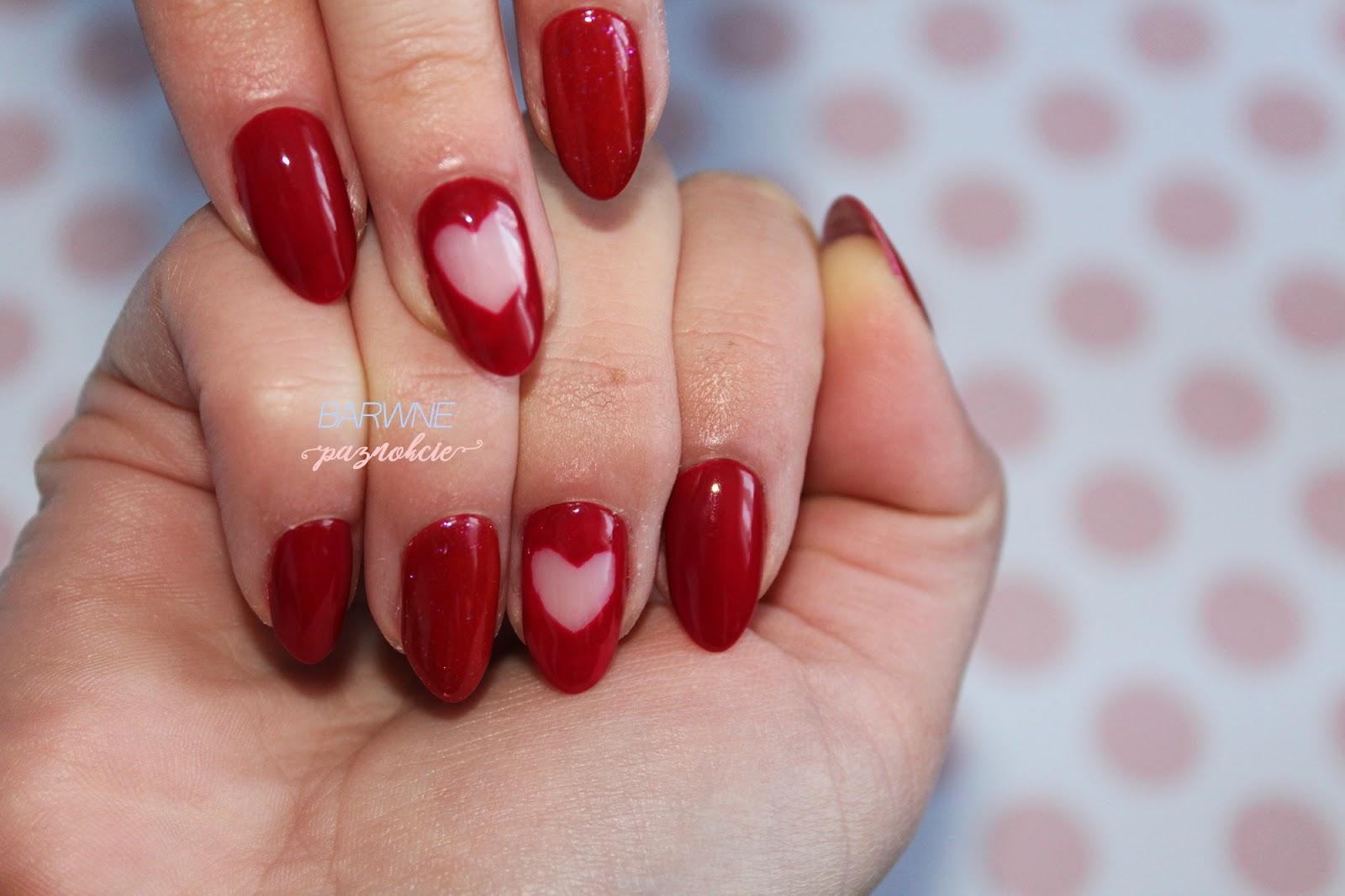 Manicure na walentynki Semilac 071 Deep Red