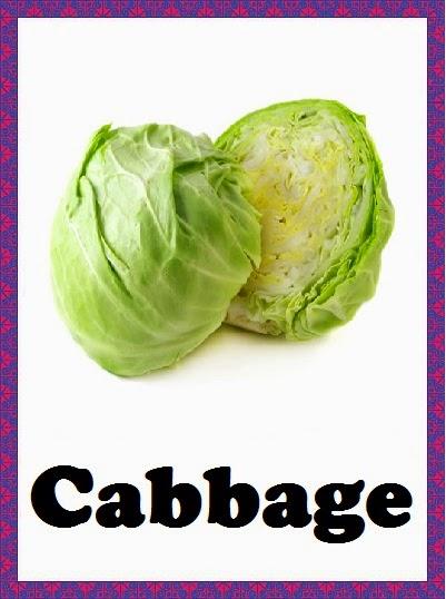 Kindergarten Worksheets Vegetables Flashcards Cabbage