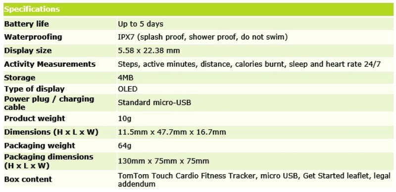 tomtom fitness tracker specifications