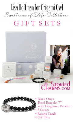"LISA HOFFMAN FOR ORIGAMI OWL SWEETNESS OF LIFE FRAGRANCE BEADS WITH BLACK ONYX BEAD BRACELET 7"" GIFT SET available at StoriedCharms.com"