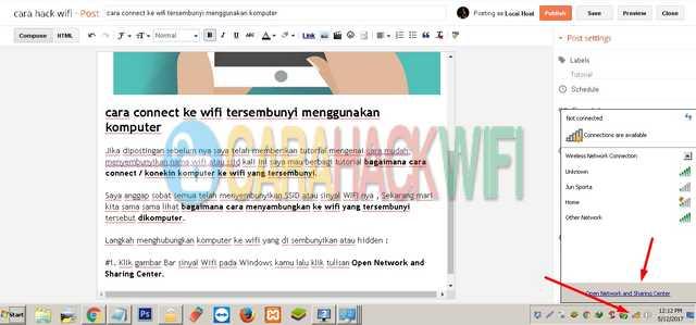 langkah menyambungkan komputer ke wifi tersembunyi