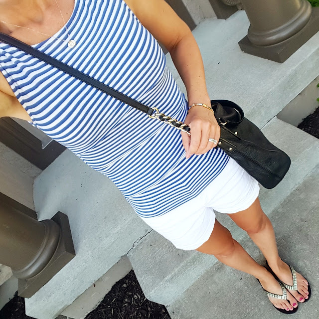 Banana Republic Factory Striped Tank (similar) // Old Navy Pixie Chino Shorts - some colors start at $10 (reg $25) // Aldo Flip Flops (similar - on sale for $13) // Kate Spade Pine Street Kori Handbag - 50% off + free shipping