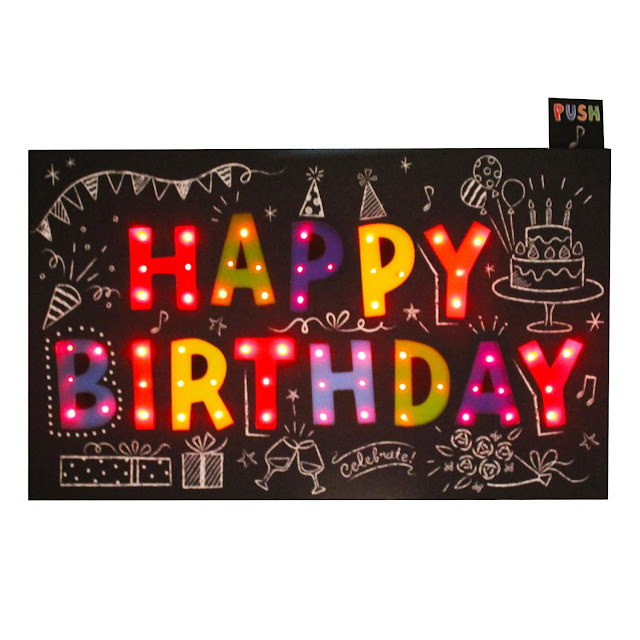 Happy Birthday Flashing Lights and Melody Pop Up Card