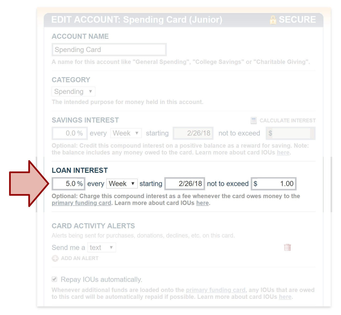 FamZoo Card Loan Interest Settings