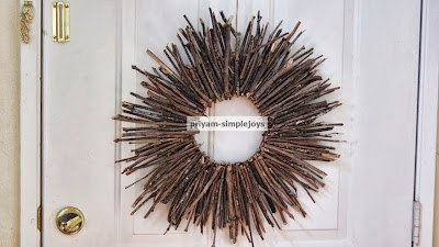 Autumn Stick Wreath, shared by Simple Joys at The Chicken Chick's Clever Chicks Blog Hop