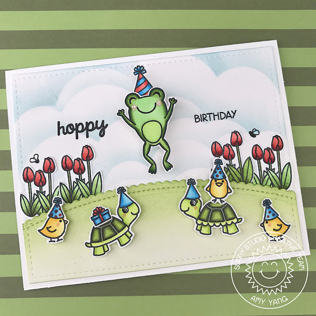 Sunny Studio Stamps: Timeless Tulips and Froggy Friends Birthday Cards by Amy Yang