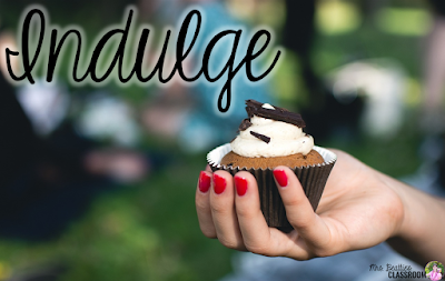 "Photo of woman holding cupcake with text, ""Indulge."""