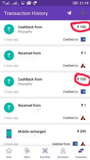 phonepe refer and earn proof