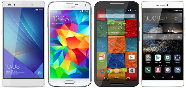 Honor 7 vs Samsung Galaxy S5 vs Motorola Moto X vs Huawei P8