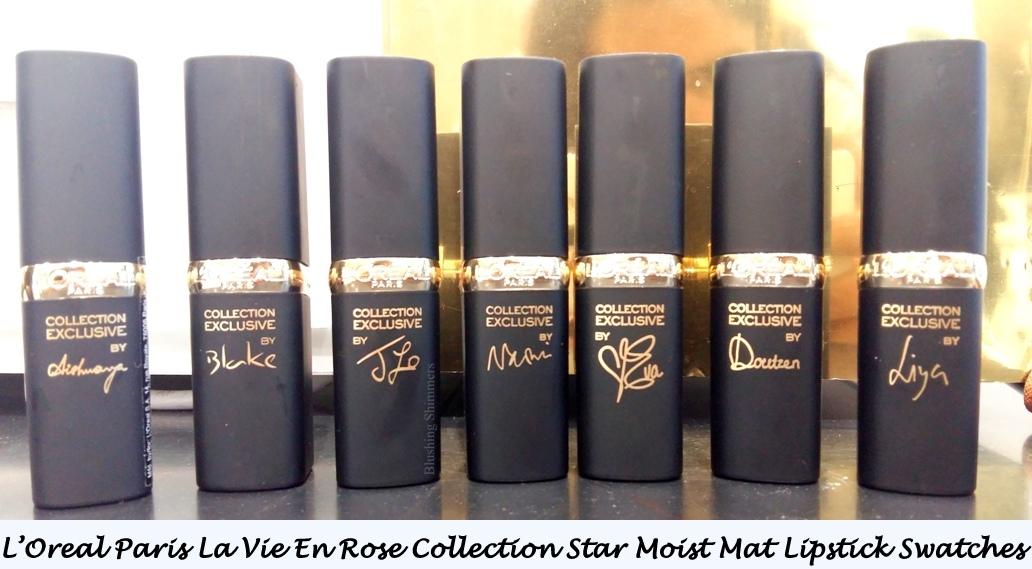 L'Oreal Paris La Vie En Rose Collection Star Moist Mat Lipstick Swatches