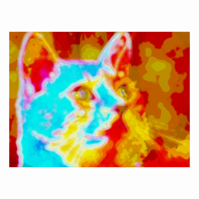 A cat image manipulated with the Processing programming code.