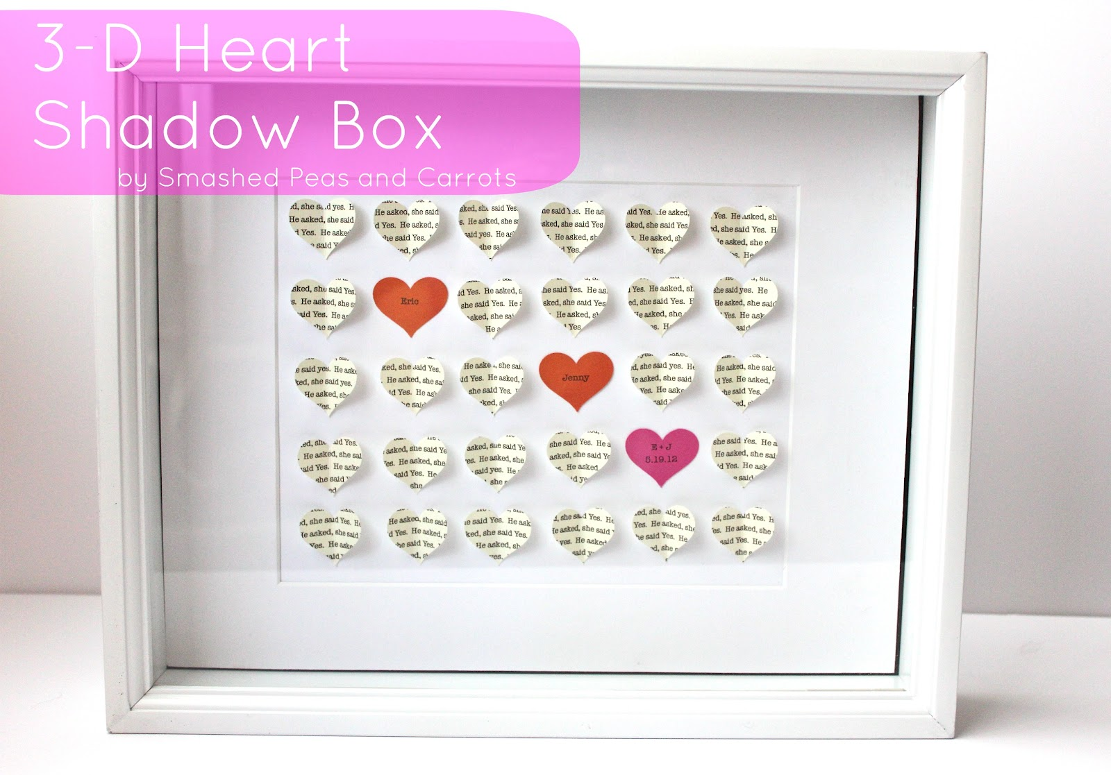 3 D Heart Shadow Box Wedding Gift Tutorial Smashed Peas Carrots