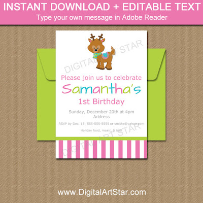 reindeer birthday invitations