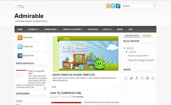 Admirable - Blogger Template - Magazine