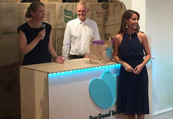 Princess Marie wore Michael Kors pleated flared dress. Princess Marie attended the opening of new store of Too Good To Go in Frederiksberg