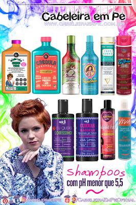 Lista de Shampoos com pH 5,5 ou inferior (Shampoo com pH baixo) das marcas Lola, Inoar, Sou Dessas, Novex, Widi Care, Griffus e Brasilis