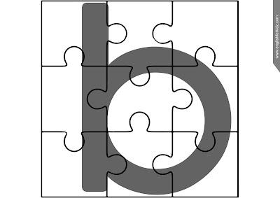 Printable alphabet puzzle, jigsaw puzzle, lowercase alphabetic lineament b