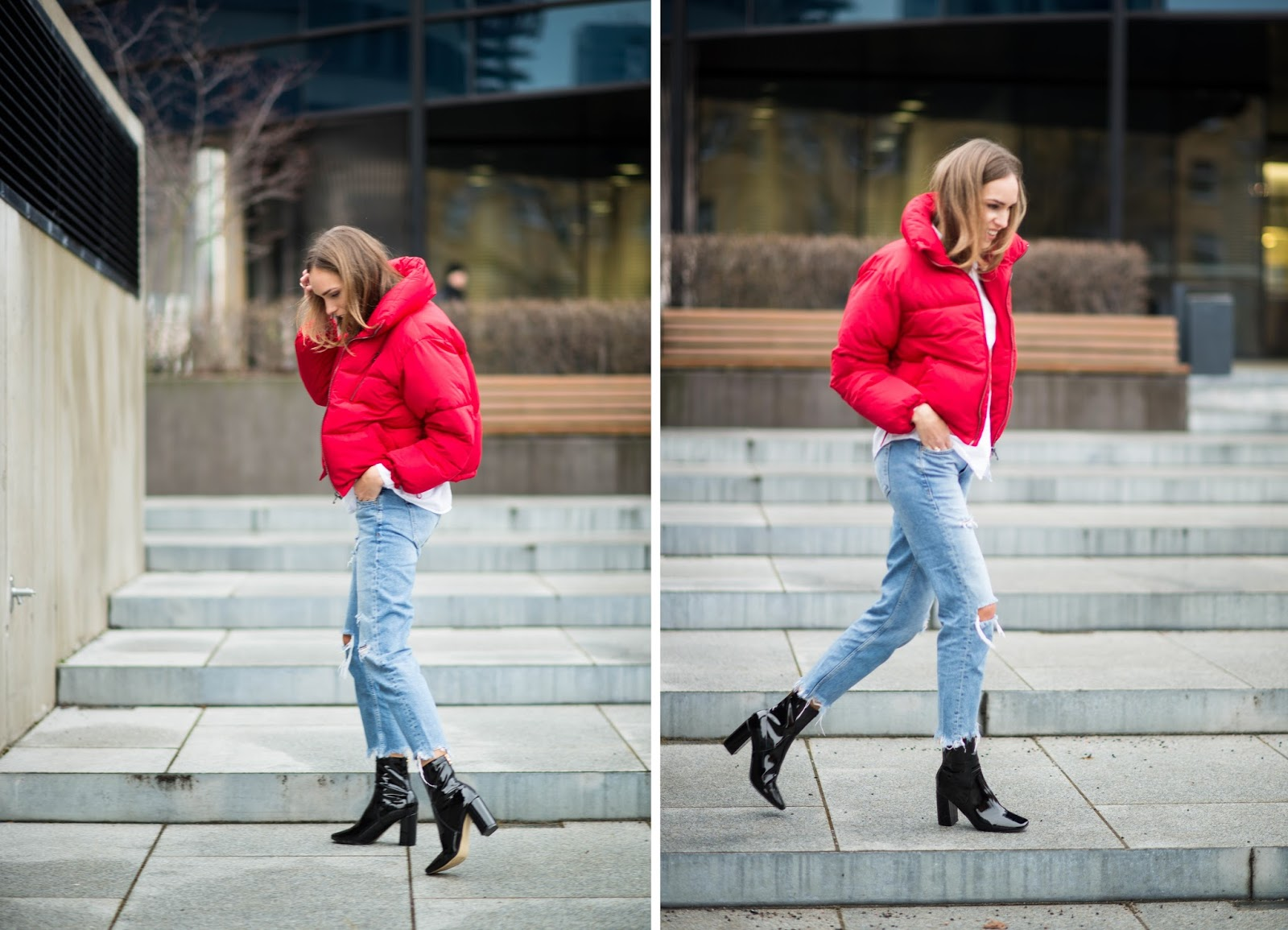 puffer jacket patent sock boots outfit
